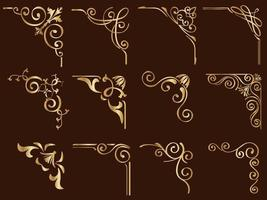 ensemble de cadres de coin vintage en filigrane doré vecteur