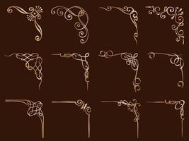 ensemble de cadres d'angle décoratifs en or vecteur