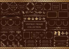 ensemble d'éléments et cadres vintage or