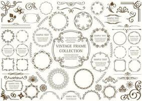 ensemble cadre et bordure décoratifs marron vecteur