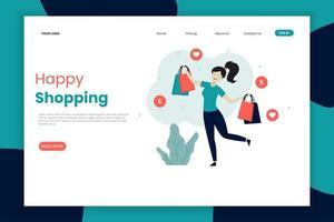 modèle de page de destination shopping femme heureuse