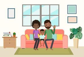 dessin animé, famille américaine africaine, rester, chez soi vecteur