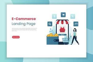 modèle de page de destination pour le commerce électronique mobile vecteur