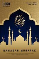 affiche du ramadan mubarak or et bleu nuit vecteur