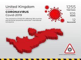 carte du pays touché par le royaume-uni du coronavirus