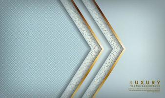 motif bleu avec des couches doublées d'or en forme de flèche vecteur