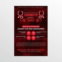 affiche de sensibilisation à la sécurité Covid-19 avec stéthoscope