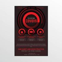affiche de mesures de sécurité covid-19 noir et rouge