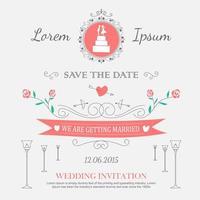 ornements et décorations de mariage de style de contour vecteur
