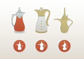Arabe icônes et illustrations vecteur de pot de café