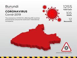 Carte du pays touché par le coronavirus au Burundi vecteur