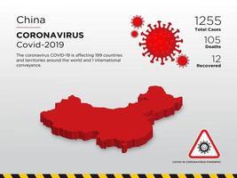 la chine affectée par la carte du pays de propagation du coronavirus vecteur