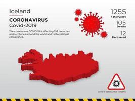 Islande carte du pays touché par le coronavirus