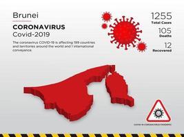 carte de pays touchés par la maladie de brunei du coronavirus vecteur