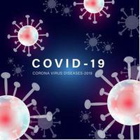 Bannière carrée Covid-19 avec des cellules roses vecteur