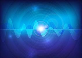 conception d'impulsion d'onde sonore bleu brillant vecteur