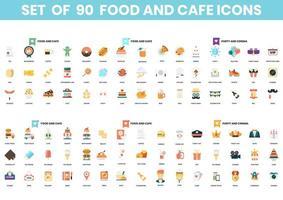 ensemble de 90 icônes de nourriture et de fête vecteur