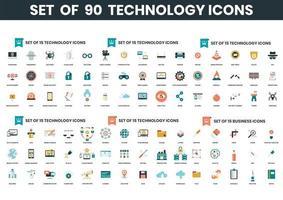 ensemble de 90 icônes de technologie vecteur
