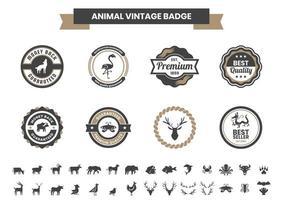 insigne vintage serti de dragon et d'autres animaux vecteur