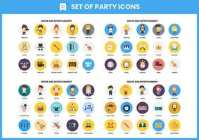 ensemble de 60 icônes de cinéma et de divertissement vecteur