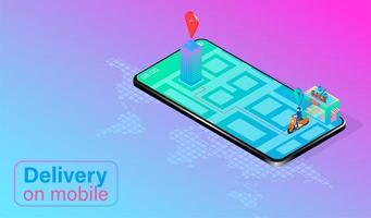 scooter sur grand téléphone mobile faisant la livraison vecteur