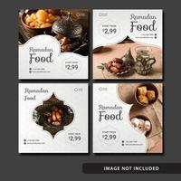 ensemble de modèles de publication de médias sociaux de nourriture ramadan