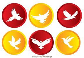 Oiseau volant vecteur dans des icônes circulaires
