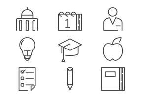 Vecteurs de contour d'icônes de campus vecteur