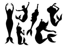 Shilouette de sirène de danse vecteur