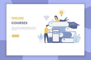 page de destination des cours en ligne pour le site Web vecteur