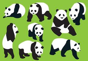 Panda bear silhouette vectors