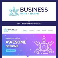 bannière de travail d'équipe et conception de site Web vecteur