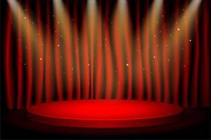 podium gagnant rond rouge avec des lumières