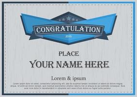 certificat de félicitations en bleu et gris vecteur