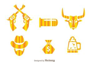 Icônes d'or de cow-boy vecteur