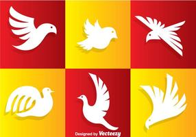Logo blanc d'oiseau vecteur