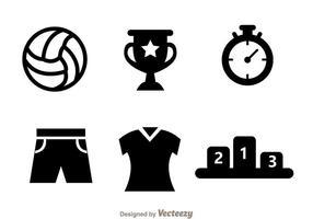 Vecteur d'icône noire de volleyball