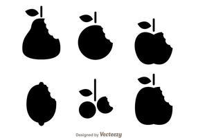 Vecteurs de marque de morsure de fruits silhouette