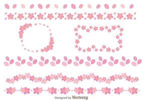 Modèle de bordure de fleurs sakura vecteur