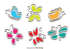 Papillon de bande dessinée vecteur