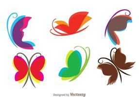 Icônes papillon volantes vecteur