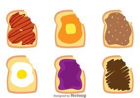 Toast bread bite mark vectors