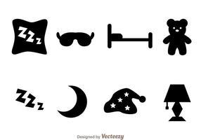 Dormir des icônes noires vecteur