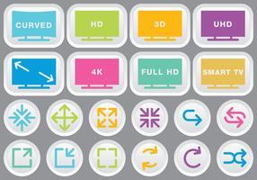 Vidéo et multimédia icônes colorées vecteur
