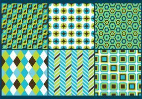 Retro Green & Blue Patterns vecteur