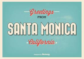Rétro style santa monica greeting illustration vecteur