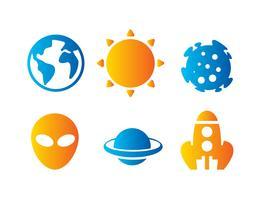 Icônes d'objets d'espace vecteur