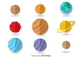 Planètes Icônes plates