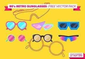 Oreille 80s retros lunettes de soleil pack vecteur gratuit