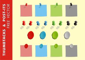 Thumb Tacks & Post-Its Free Vector